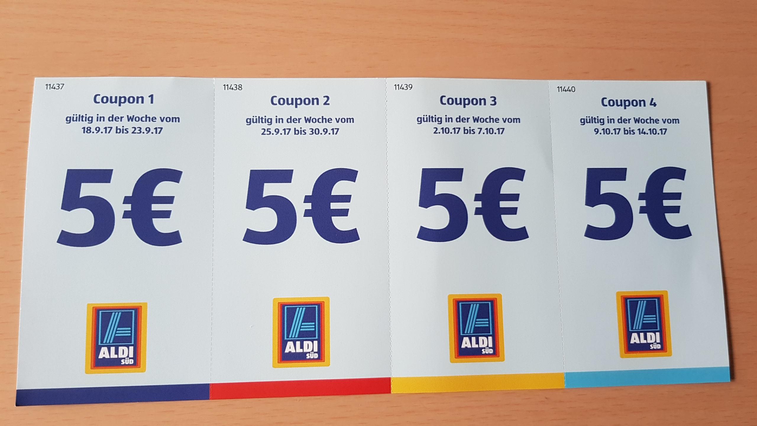 [Lokal 40599 Düsseldorf] Neueröffnung Aldi-Süd 4x 5 Euro Coupon ab 40 Euro Einkaufsbetrag