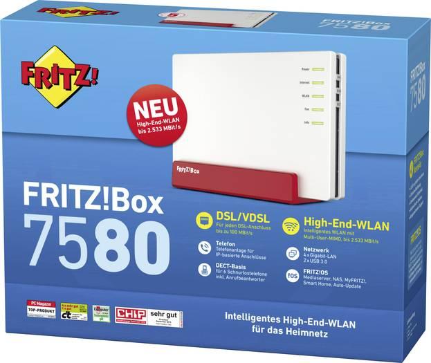 AVM Fritz!Box 7580 WLAN-Router für 144€ versandkostenfrei [Voelkner]