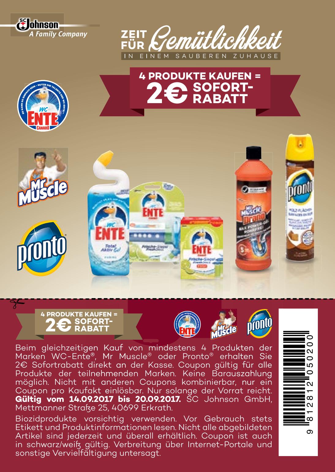 2,00€ Sofort-Rabatt-Coupon in PDF (auch in s/w gültig) für 4 Produkte der Marken Mr. Muscle, WC Ente, Pronto bis  20.09.2017 (Rossmann sogar bis 01.03.2018)