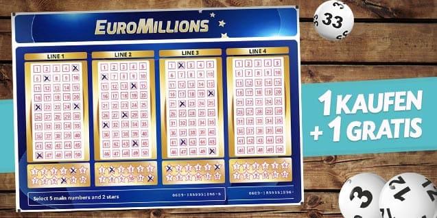 [playeurolotto.com] Neukunden bekommen 2 Tipps für Euro Millionen für 3€, 130 Mio. € Jackpot am Freitag! + Geld-zurück-Garantie