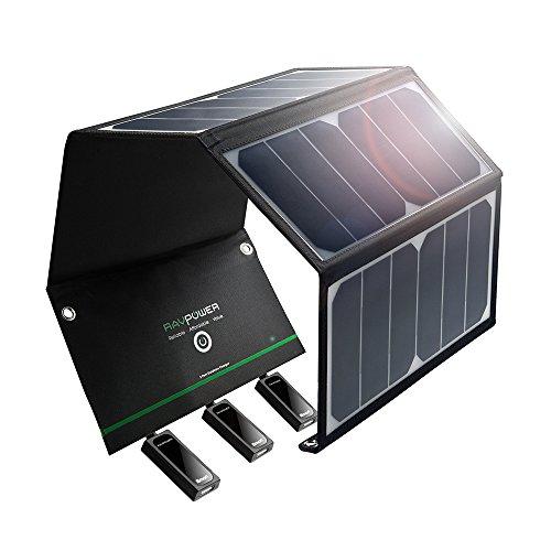 RAVPower 24W Solarladegerät mit 3 USB iSmart-Ports