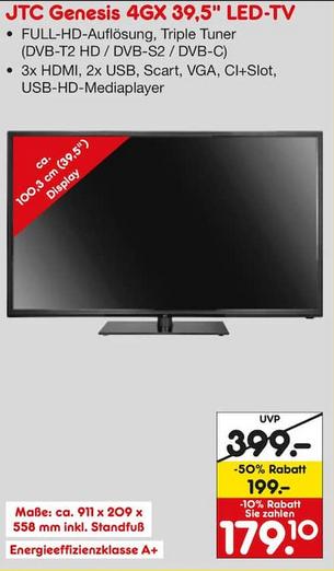 [Lokal - Netto Markendiscount Wuppertal] JTC GENESIS 4GX 100,3 cm (39,5 Zoll) LED TV, Tripple Tuner, Full-HD, A+ für 179,10€