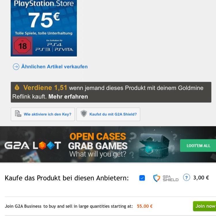 75€ PSN Card für 55€ !!