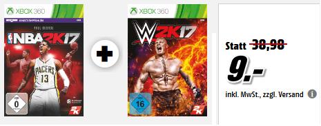 [Media Markt - online] Xbox 360 Spiele NBA 2K17 + WWE 2K17 für zusammen 9€ *nur noch vor Ort abholbar*