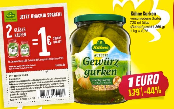 [Edeka Nordbayern+Sachsen] 2x Kühne Gurkengläser für 1€