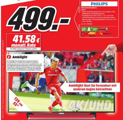 [Lokal Mediamarkt Kassel] Philips 55PUS6262 139cm 55 Zoll 4K UHD Fernseher Ambilight Smart TV DVB-T2 HDR [Energieeffizienzklasse A+] für 499,-€