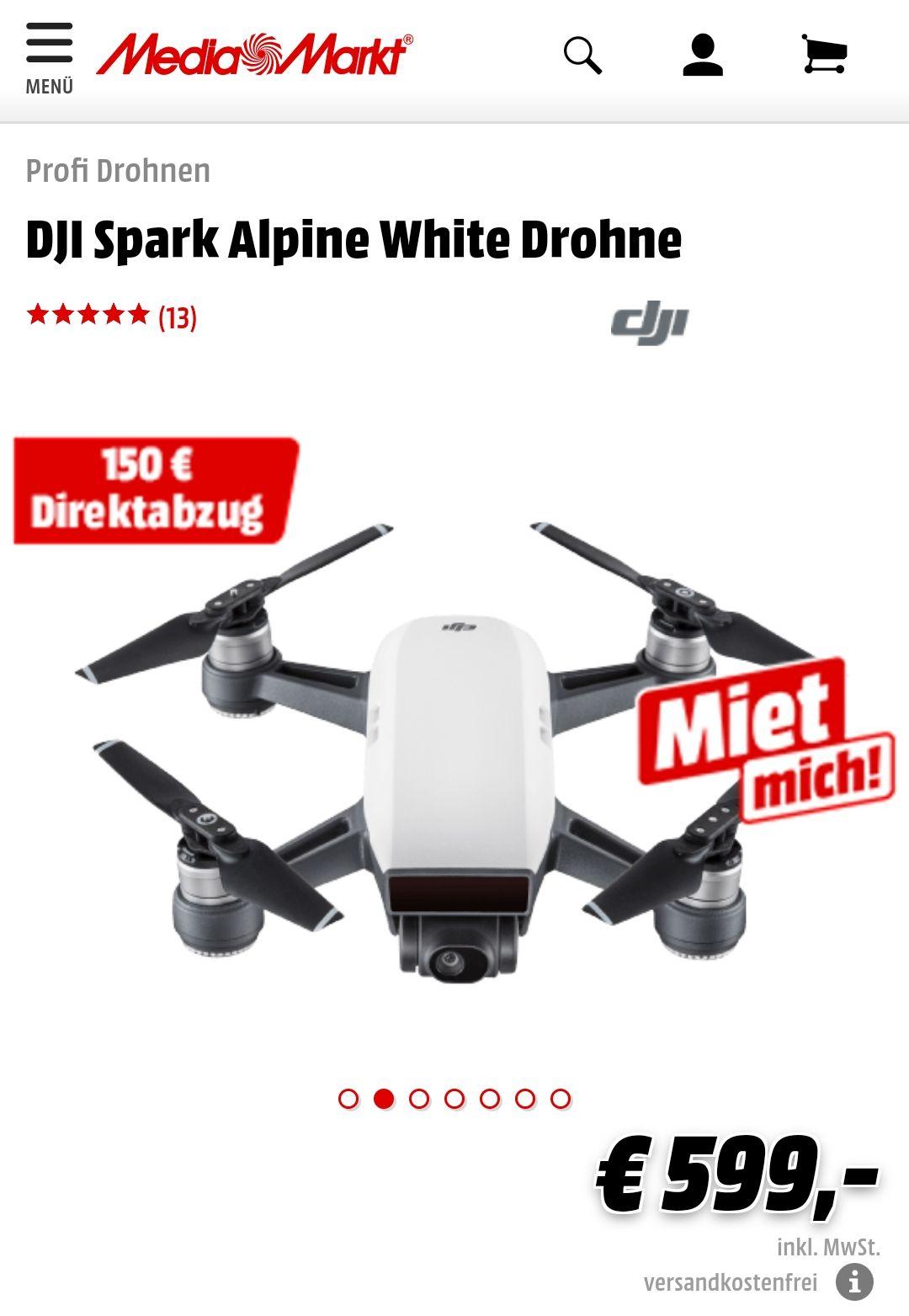 DJI Spark bei Media Markt mit 150€ Sofortrabatt - sehr kleine Drohne mit Smartphonesteuerung und optionaler Fernbedienung (+ mehr Reichweite)