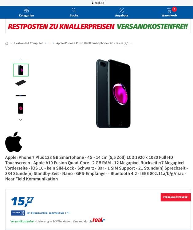 Error Fare iPhone 7+ 128gb schwarz