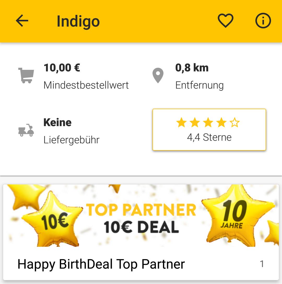 [Lokal Frankfurt] 45 % Rabatt: Happy Birthdeal bei Indigo India in der Pizza.de app