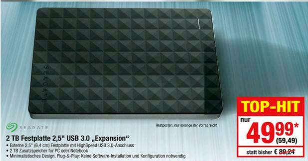 """[Metro] Seagate Expansion Portable 2TB externe 2,5"""" USB 3.0 Festplatte für 59,49 € (21.09. - 27.09.)"""