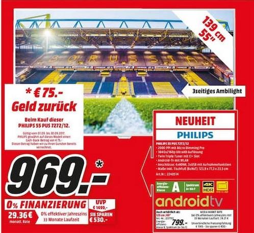 Philips 55PUS7272 Ultra HD LED TV (100 Hz nativ) mit 3-seitigem Ambilight / auch in 49 Zoll für 799,00 € @ MM Dortmund-Oespel und Dortmund-Hörde