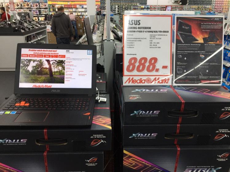 Media Markt ASUS Gaming Monster GL502VM-FY035T 888 € anstatt 1599 € nur in Wiesbaden Hasengartenstrasse