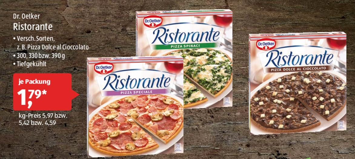[Aldi-Süd] Dr. Oetker Ristorante Pizza ( verschiedene Sorten inkl. Schoko) für 1,79 € am 29./30.09.2017