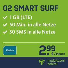 Mobilcom-debitel o2 Smart Surf (2,99 € / Monat) mit 1GB LTE + 50 Freiminuten + 50 Frei-SMS
