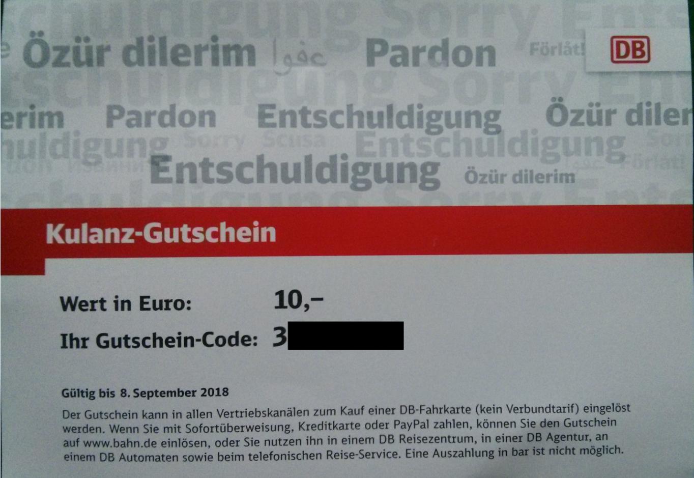 kostenlose 10€ Kulanz-Gutschein (lokal Bahnhof Rastatt & vlt auch Baden-Baden)