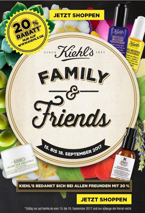 Kiehl´s Family & Friends Day´s 20% Rabatt vom 15.09. - 18.09. kiehls.de