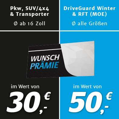 Bridgestone Reifen - 4 Reifen kaufen und Prämie in Höhe von 30€/50€ bekommen - ideal für Winterreifen