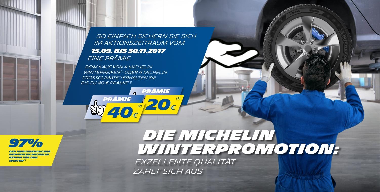 Michelin Winterreifenpromotion: 4 Winterreifen oder Allwetterreifen kaufen und 20 € - 40 € Prämie erhalten.