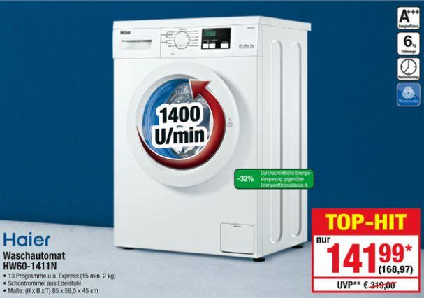 [Metro] Billige Waschmaschine Haier HW60-1411N A+++