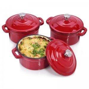 3 Ofenformen aus Gusseisen (emailliert) in rot, entweder rund (220ml) oder oval (250ml) von Sänger