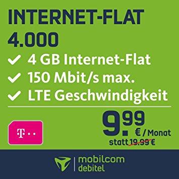 Mobilcom-debitel Telekom Internet Flat 4GB inkl. LTE (9,99 € / Monat) + i.onik Global Tab L701