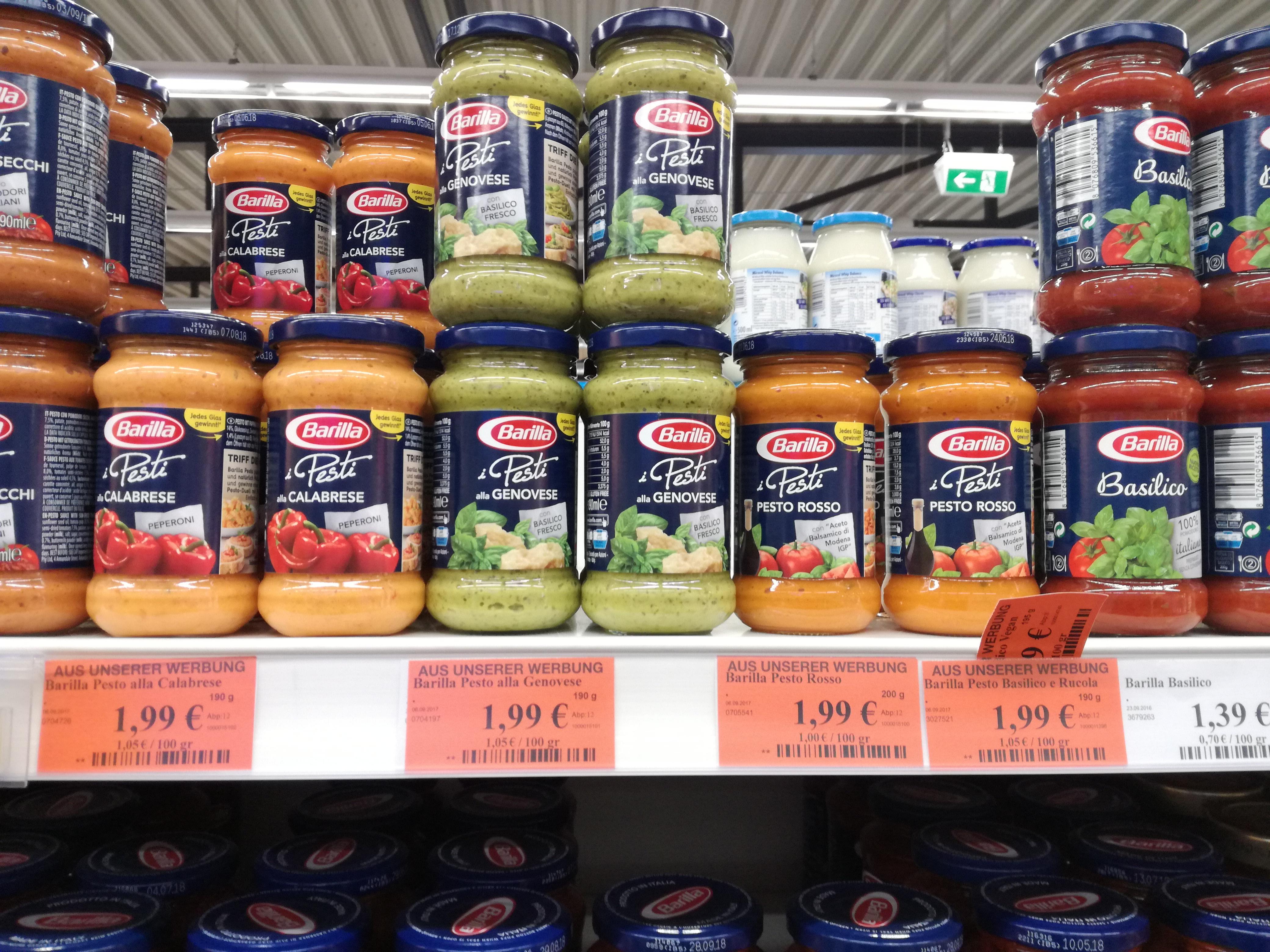Verschiedene Pestosorten von Barilla nur 1,99€ bei K+K