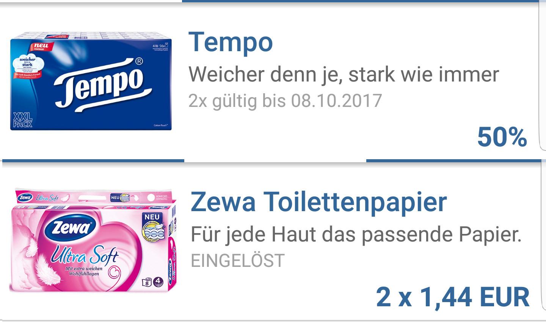 [Reebate] Je 2x 50% (insg. 8,00€) Cashback für Tempo Taschentücher und Zewa Toilettenpapier