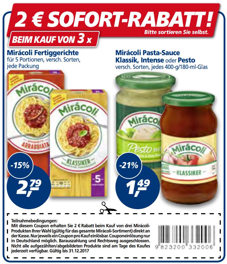 Neuer 2,00€ Prospekt-Coupon (abweichende EAN) für 3 Miracoli Produkte im aktuellen Prospekt KW38 (31.12.2017)