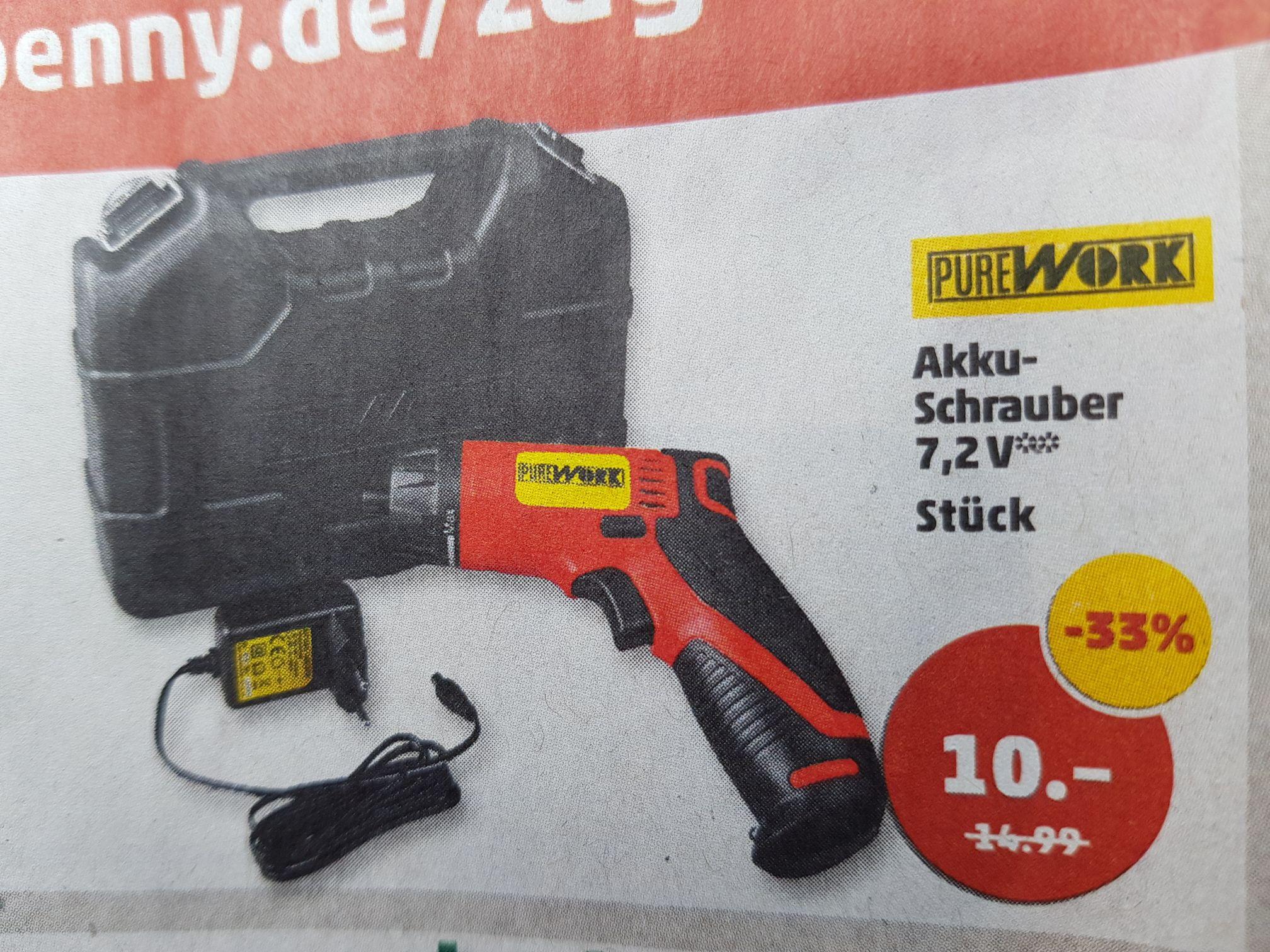 [Penny / ab 21.09] PUREWORK Akku-Schrauber 7,2 V