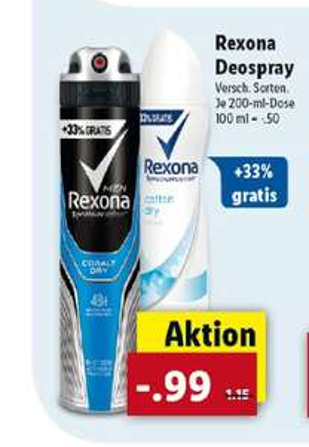 LIDL ab 18.09: Rexona Deos 150/200ml für 99cent