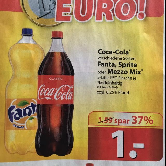 [Lokal Famila Nordost] 2 Liter Coca Cola etc. für 1€