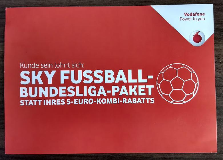 Als Vodafone-Kunde (Internet/Phone + TV): SKY Bundesliga für 5,- monatlich