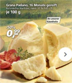 [real,-] Grana Padano Käse 50% günstiger 0,99 € statt 1,99 € [Angebot KW 38]