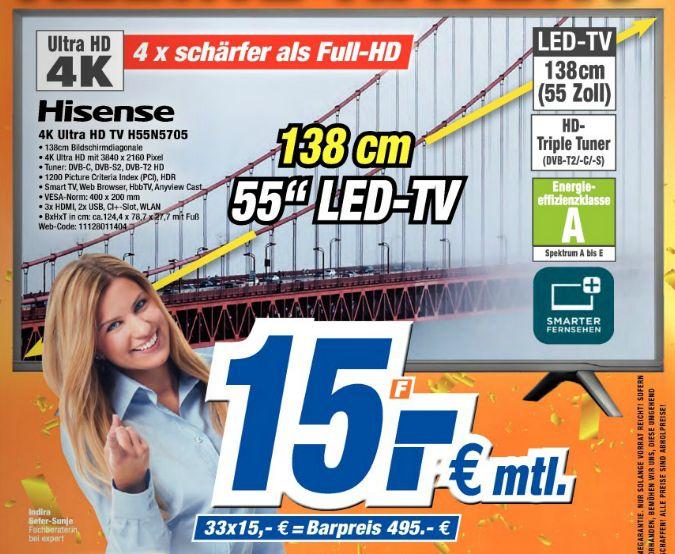 [Lokal Expert Bielinsky] Hisense H55N5705, 55 Zoll (138cm) UHD 4K TV, Edge-LED, Smart-TV, PVR, HDR10 für 495,-€
