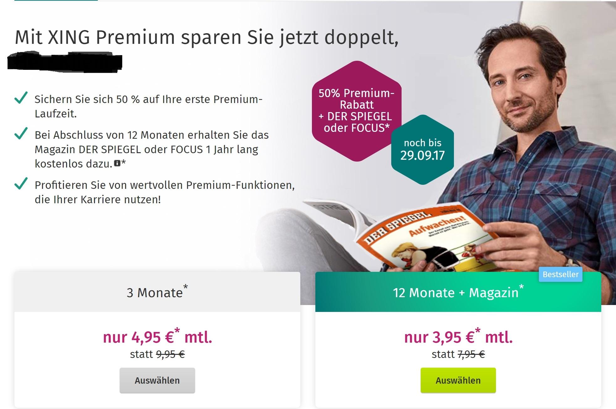 XING 50% Premium-Rabatt + DER SPIEGEL  oder FOCUS