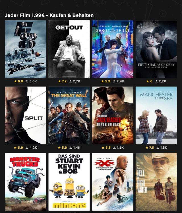 20 Filme für je 1,99 € kaufen und behalten -- Rakuten TV ehemals WUAKI TV