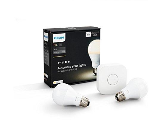 Philips Hue White Starter-Set: 2x LED + Hue Bridge [amazon.fr]