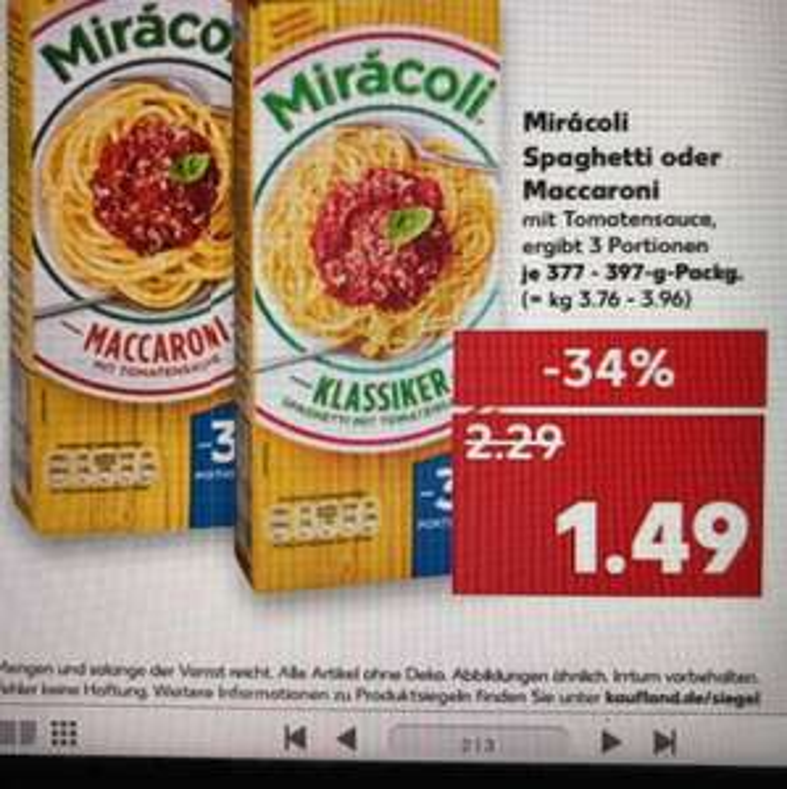 [Kaufland] 3x Miracoli x 1,49 = 4,47€ -2€ Coupon 2,47€