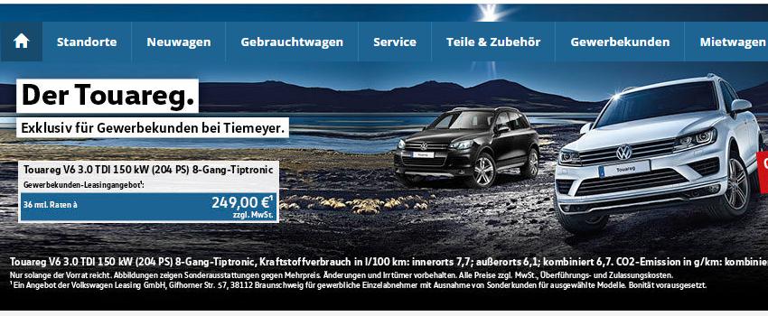 [Carledo] Gewerbeleasing VW Touareg V6 TDI 3,0 l   36M/10TKm/249€/M