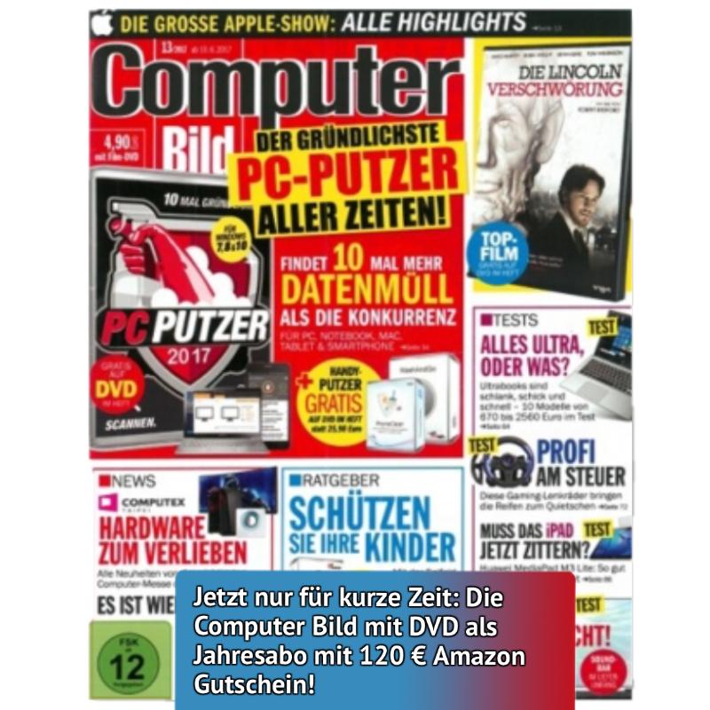Computerbild inkl. DVD im Jahresabo (26 Ausgaben) für 136,50€ lesen und 120€ Amazon Gutschein als Prämie erhalten