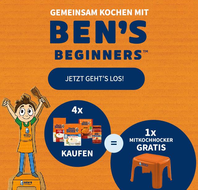 Gratis Hocker beim Kauf von vier Uncle Bens Produkten, zwei gratis Hocker bei acht, drei bei 12