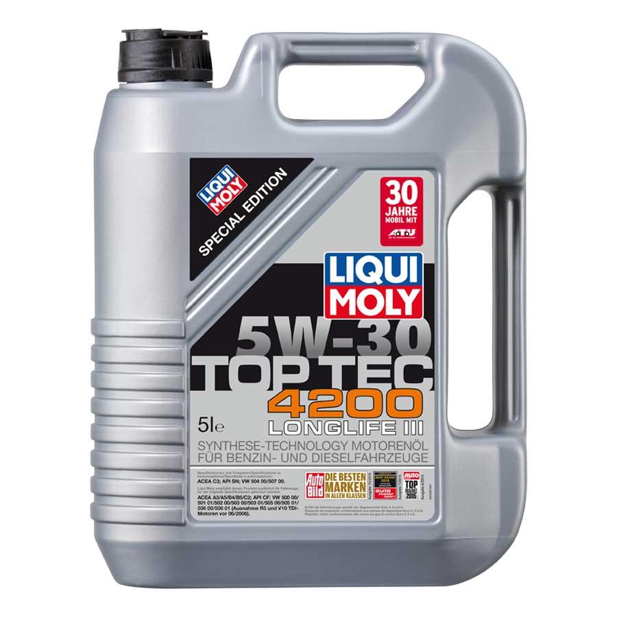 TOP Marken Motoröl LIQUI MOLY TOP TEC 4200 5W30 zum Sparpreis 5,60 €/l AUDI,VW,SKODA, BMW, Mercedes, Porsche