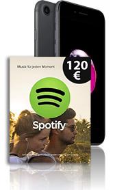 Telekom Magenta Mobil M (Young) (ab 49,95 € / Monat) + Apple iPhone 7 128GB für 1 € - inkl. effektiv 1 Jahr kostenlos Spotify durch 120€ Gutschein! - bis zu 6 GB LTE | Allnet | SMS | EU&Schweiz | StreamOn | 5.000 Meilen