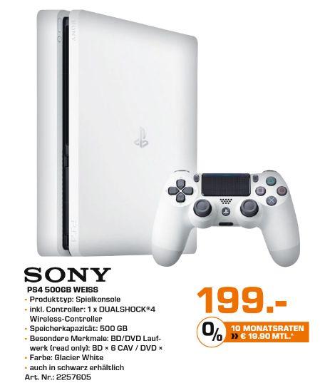 [Lokal Saturn Chemnitz / Zwickau] Sony PlayStation 4 (PS4) Slim 500GB glacier white für 199,-€**Update..Auch in Rostock für 198.-€