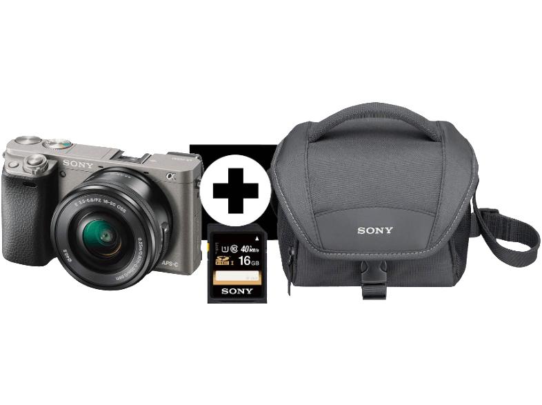 SONY Alpha 6000 LH Kit (schwarz oder silber) mit 16-50 mm Objektiv, Tasche und 16GB SD-Karte für 499 Euro. [Saturn]