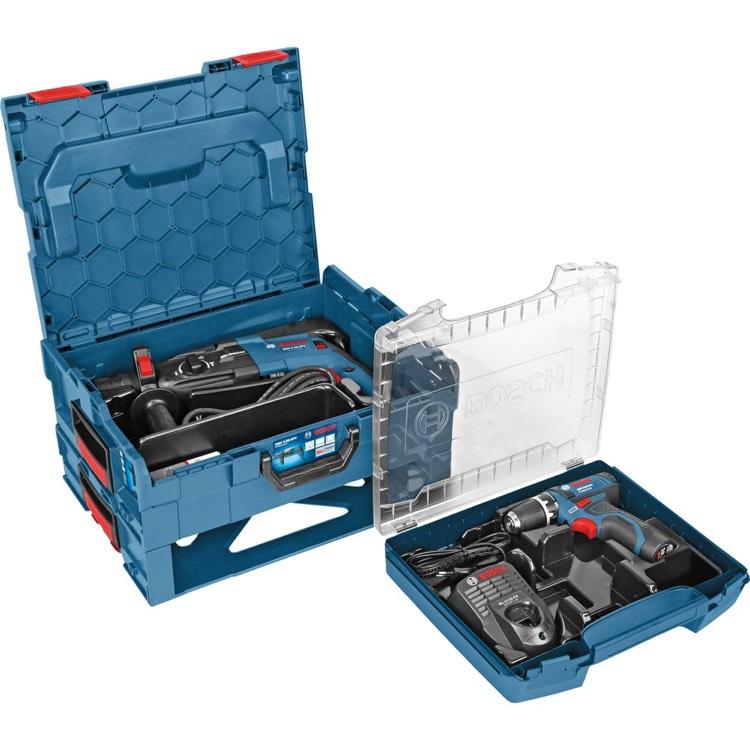 Bosch Professional Bohrhammer GBH 2-28 F und Akku-Bohrsc. GSR 10,8/12-2, blau, L-BOXX, 2-teiliges