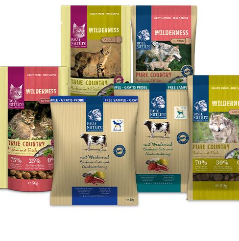 Gratis Futterprobe für Hunde oder Katzen von REAL NATURE