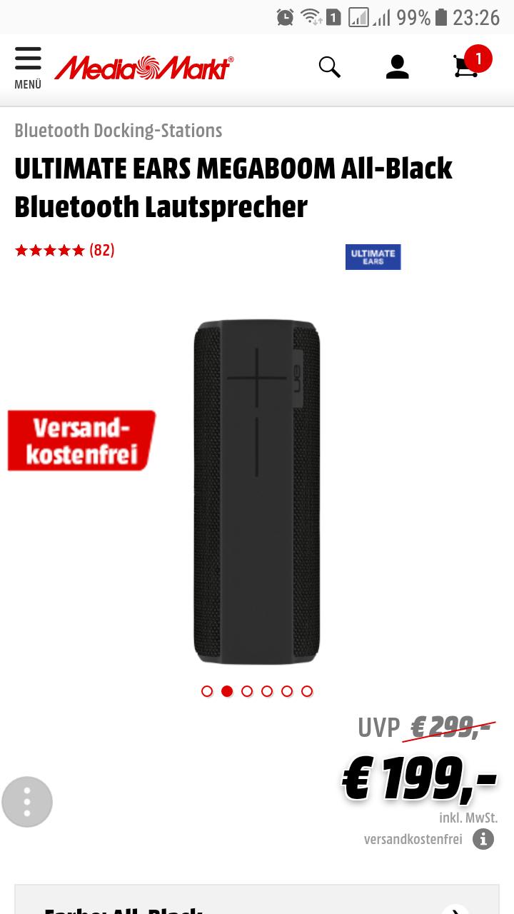 UE MEGABOOM All-Black Bluetooth Lautsprecher ( Media Markt Online ) mit 40 € Direktabzug im Warenkorb : 159 € / Versandkostenfrei