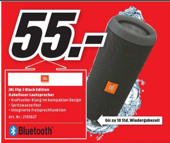 [Lokal Mediamarkt Alzey/Mainz/Bischofsheim] JBL Flip 3 Bluetooth-Lautsprecher -Black Edition für 55,-€