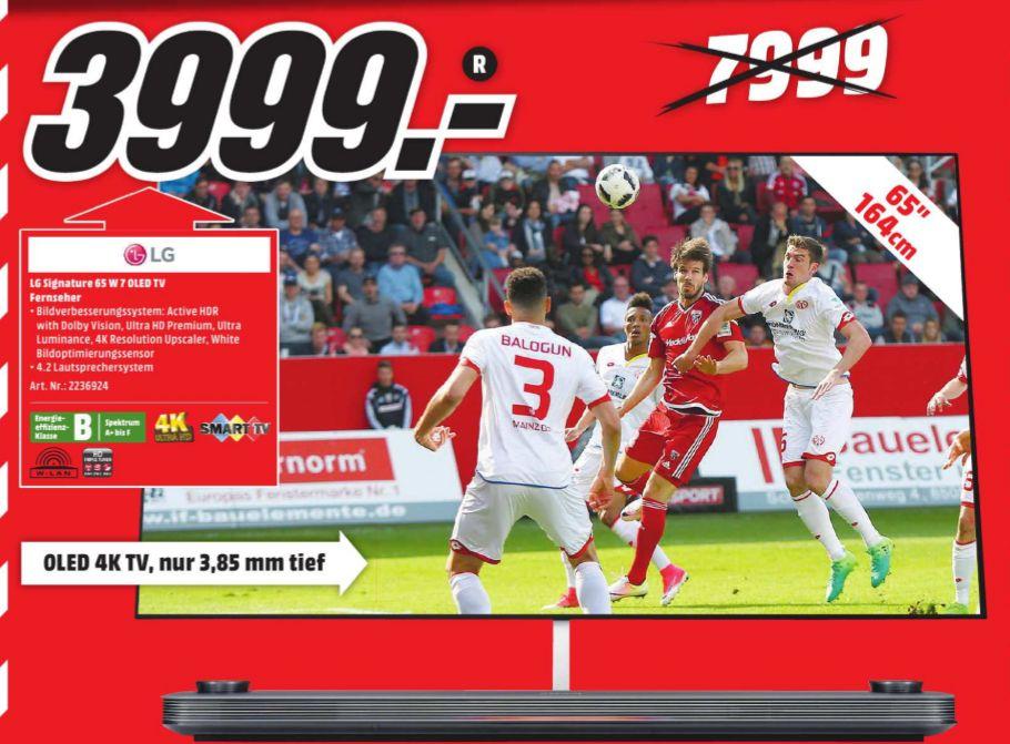 [Lokal Mediamarkt Lübeck]  LG Signature OLED 65W7V Wallpaper-TV, 65 Zoll, OLED 4K, SMART TV, webOS 3.5 für 3999,-€ // SAMSUNG UE85JU7090T LED TV (Flat, 85 Zoll, UHD 4K, 3D, SMART TV) für 3000,-€